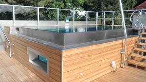 Ventana para piscina de acero inoxidable